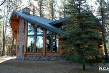 Deschutes Oregon finished project / This is one of our finished designs in #Deschutes #Oregon. Large architectural shaped windows in the lounge separated by a rock face on the outside and a beautiful covered entry. #loghomedesign #floorplans #timberhomedesign #dreamhouse
