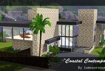 "Coastal Contemporary Re-Build / I saw this picture on Google while searching for some Beach House ideas and thought cool let me try and build it myself. Then a few months later I found out it is actually a real sims 2 house on MTS built by tomvanroosmalen. Mod The Sims - ""Coastal Contempory"" a try at Minimalism. If you read the messages on that page you will see that this house was actually interpreted by tomvanroosmalen from another sims 2 house that looks similar. Here is my rebuild. Interior design by me."