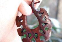 Ethnic Wooden Earrings / Full handmade  wood piercings carved