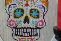 Cross stitch skulls