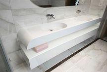Double, elegant washbasin for couple.