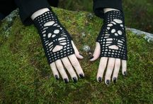 Gloves, wrist warmers, mostly crocheted