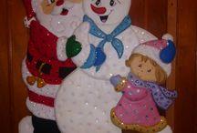 Santa y niño de nieve