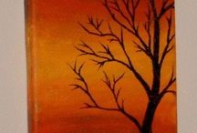Acrylic tree/sunset / Tree silhouette with senset