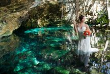 Cenote Weddings / Cenotes are fresh water sink holes carved by rain through the ages to become a gorgeous window to the underground rivers. The lush tropical setting of these crystal clear fresh water springs, provide a stunning back drop for your wedding