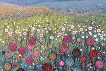 Button art flowers