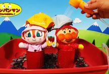 アンパンマン アニメ❤おもちゃ 大雨でも大丈夫!ドキンちゃんたちの傘と合羽!Anpanman toys