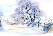 Snow - watercolor
