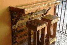 mesa y taburete de palets