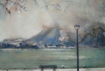 Aquarelles d'Annecy, le lac, la vieille ville