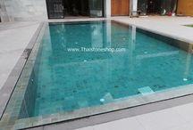 หิน sukabumi สำหรับติดตั้ง สระว่ายน้ำ / หินปูสระว่ายน้ำ Green Sukabumi Size 10X10 cm.   เรามีสินค้า Stock พร้อมส่งได้ทันที!!! โทร:02-889-4997