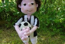 Crochet football player,calciatore all'uncinetto