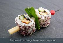 Nos créations / Notre chef Yukie Uno a créé spécialement pour Mon Panier d'Asie de nombreuses recettes uniques et raffinées. Nos créations sont disponibles et notre chef se fera une joie de vous préparer la recette souhaitée.