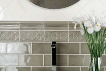 Tile and Counters / Love to add color to bathrooms and kitchens with stone! You can get so creative to make it your masterpiece! Love these ideas!