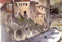 cityscapes / watercolors