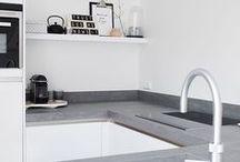 Kitchen white and grey