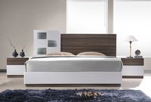Modern Walnut Veneer  Lacquer White Walnut Bedroom Collection