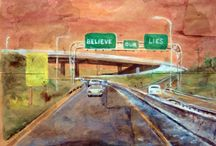 highwaysigns / roads, highways, watercolors, highwaysigns, messages, dystopian signs, watercolors, paintings