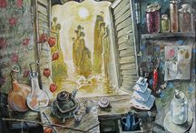My painting / drawing, painting, dream, still life, window, needlework