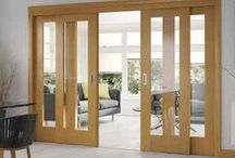 Easi Slide Doors in Oak and White / A large range of oak and white sliding doors with a full frame and track system for easy fitting.