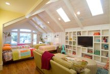 Attic Kids Room ideas / Love this room for the girls bedrooms upstairs (in different colours)