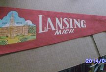 Vintage Michigan Felt Pennants / The souvenir of choice from back in day.