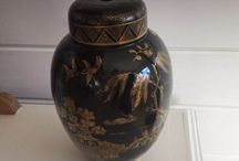 BOOTHS black and gold pot COLLECTABLE