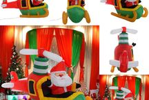 Santa Claus Inflatable Xmas Decoration Christmas Gift Plane Outdoor Indoor Home