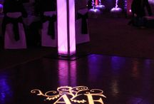 Our Custom Monograms / Have your names or initials projected across the dance floor, wall or ceiling. Our wedding monogram lighting is unique and personally designed for you, for your event and can be projected as a static or rotating image.