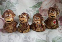обезьянки, мишки, зайчики из соленого теста и полимерной глины