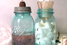 MASON JARS, BOTTLES, CANS / Decorating and displaying all types of jars, bottles and cans / by Cheri Hopkins