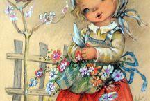 Vintage - tavasz /Gyerekek / Régi képeslapok gyermekekről