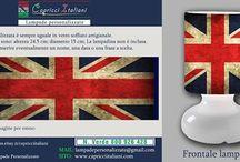 Bandiere / Lampade da Tavolo in vetro soffiato a bocca con l'immagine desiderata di una bandiera. E' possibile inviare la foto desiderata o scegliere tra quelle proposte. www.capricciitaliani.com