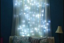 bed with lights