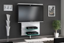 Vario Wall tv cabinet / Vario White Hi-Gloss swivel TV Wall Cabinet has shelves for CDs and DVDs on both sides.