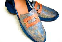 Penny / Loafers of blue bison hide with natural beaver tail accents.