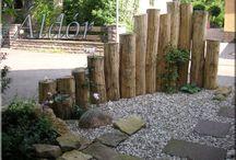 Akácfa kertépítő elemek / Akácfa kerti járda, rönk támfal, akác térburkolat, fa kertépítő elemek