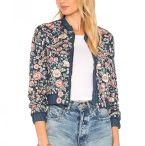 Embroidered Ladies Bomber Jackets / Front zipper. Embroidered fine detail throughout. Candy striped rib knit Cut. design staff behind Parker knows that modern lady loves style and in very same look