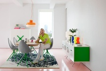 Fresh and colorful interior / Bright colours with lots of light and white