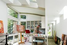 Art studio ideas / Maybe one day I'll have a big well-organized art studio full of natural light.