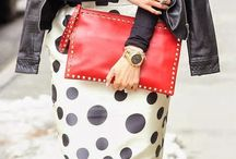 Red clutch outfit