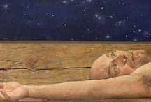 """Ο ζωγράφος Χρήστος Μποκόρος / """"...Κάτι άλλο ζητάμε εδώ… πες το έρωτα ή ευτυχία. Όπως και να το πεις, εκεί συγκλίνει: σε κάτι που δεν εξαρτάται από εμάς.""""....Χρηστος Μποκόρος..."""