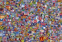 ETUDES / COLLAGE Studies comprised of logos & words