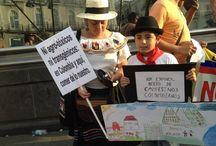 En España respaldan lucha campesina colombiana  / En España ciudadanos manifestaron, desde sitios emblemáticos como Puerta del Sol, su solidaridad con la lucha de los campesinos colombianos que reclaman, entre otros puntos, el fin de los TLC.