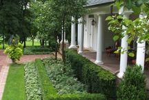 Gusak Back Garden / A formal classical style garden with hedging paths, tennis court, orchard, Gazebo and alfresco corner & courtyard