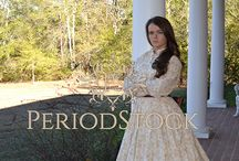 Historical day dresses / 19th century style everyday dresses, stock photography