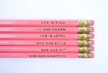 school stuff. / pink in school.