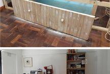 DIY Home Office / Practical Home Office - Making use of items you already have, make yourself, or salvage. That's UpCycling, or Creative Reuse.