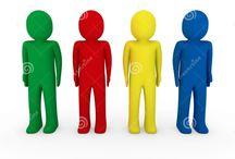 Rojo, Azul Verde y amarillo.
