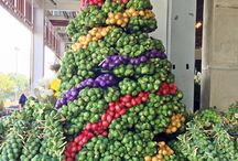Holiday Food / Brussels sprout and potato tree http://lentilbreakdown.blogspot.com/2013/12/seasons-eatings-from-home-and-abroad.html#.UrnmIihwYUU